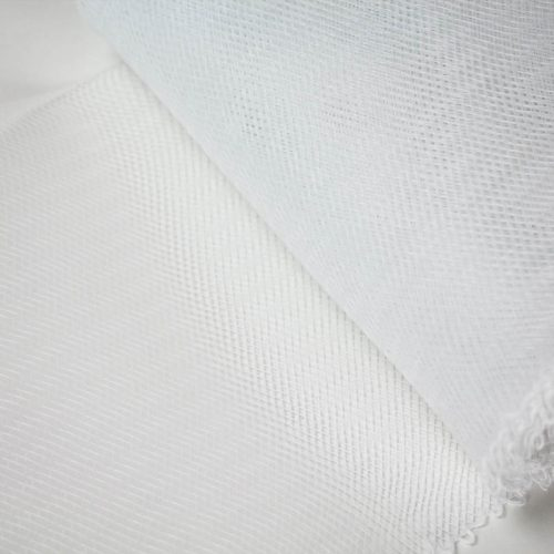 White stiff horsehair is 100% quality polyester, flexible but not soft.