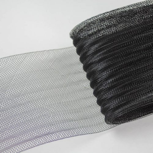 BlackA pleated horsehair with 1/4 inch pleating running through, parallel to length.