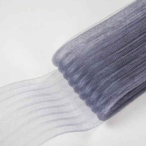 Grey polyester, very flexible, 1/4 inch pleats.