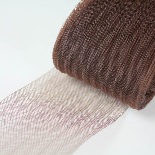 Brown pleated horsehair with 1/4 inch pleating running through.