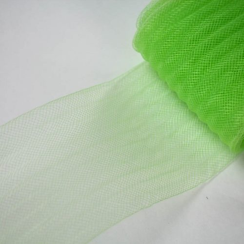 Lime green pleated horsehair with 1/4 inch pleating running through, parallel to length.