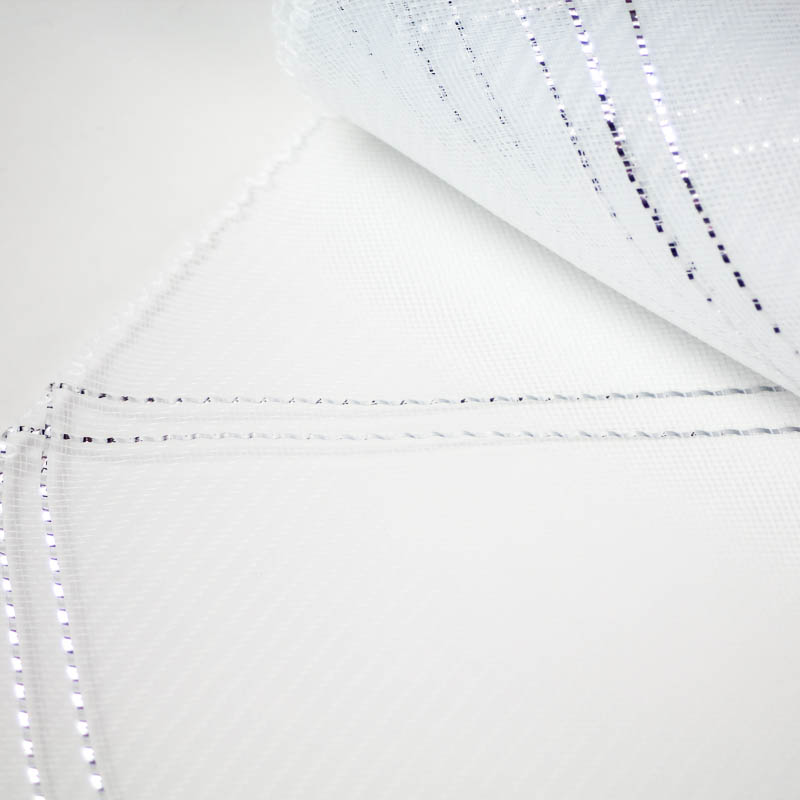 White and Silver Crosshatch or zigzag pattern.