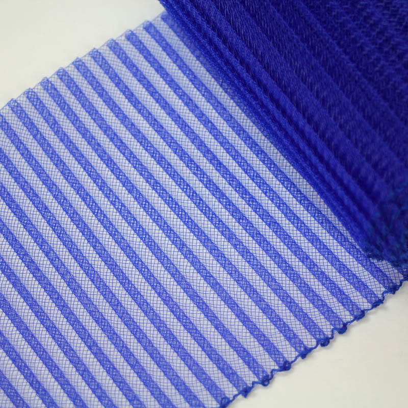 Royal Blue polyester, very flexible, 1/4 inch pleats.