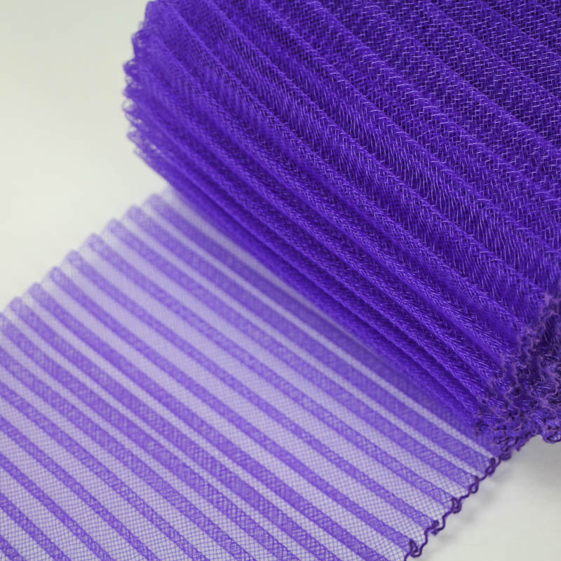 Purple polyester, very flexible, 1/4 inch pleats.