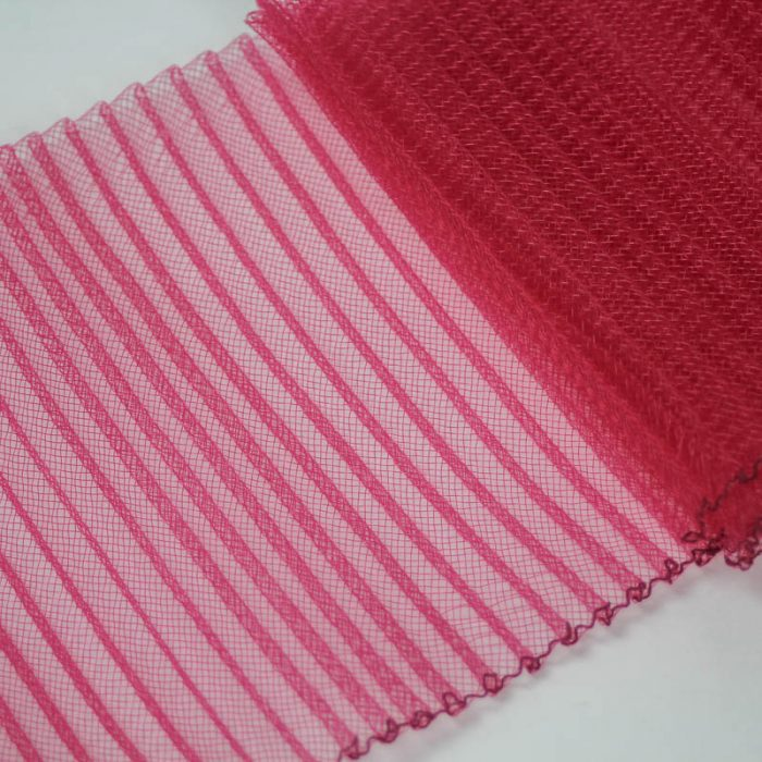 Rose Pink polyester, very flexible, 1/4 inch pleats.