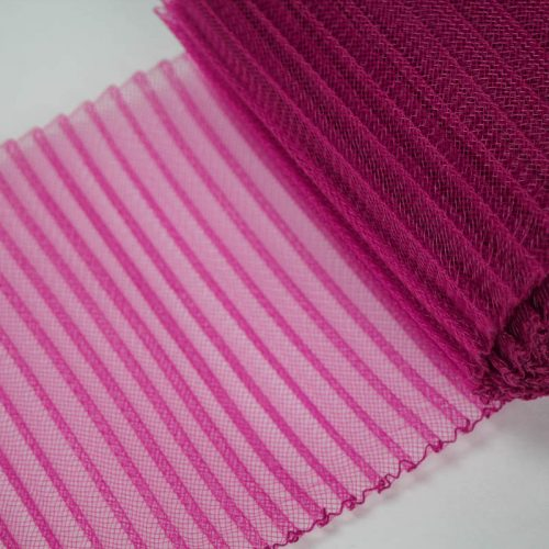 Fuchsia Pink polyester, very flexible, 1/4 inch pleats.