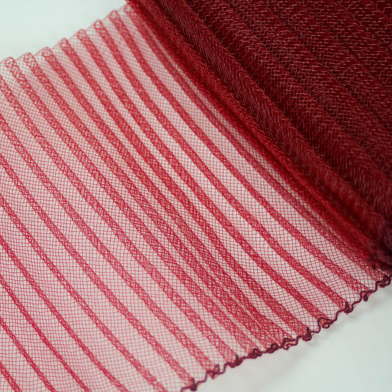 Cranberry Red polyester, very flexible, 1/4 inch pleats.