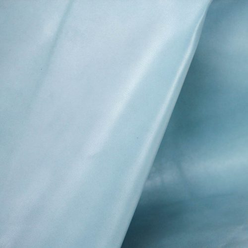 Powder Blue Supple and soft leather, thickness of .70-.80mm, and blocking. Dyed all the way through.