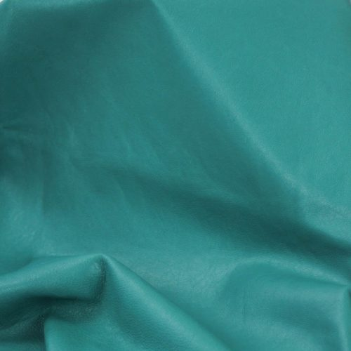Turquoise Supple and soft leather, thickness of .70mm, and blockable. Dyed all the way through.