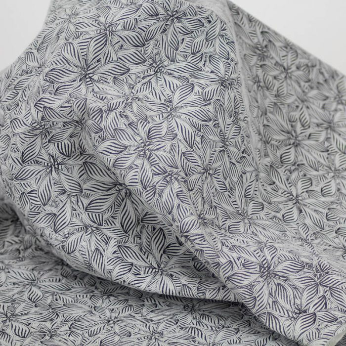 Tropical Floral pattern on pig suede. Supple and soft leather, thickness of .50-.55mm, and blockable.