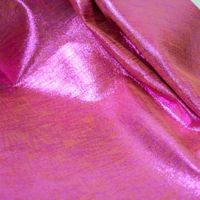 Metallic Hot Pink and orange pig suede. Supple and soft leather, thickness of .50-.55mm, and blockable.