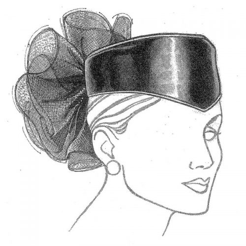 Hat pattern with sophisticated and feminine style.