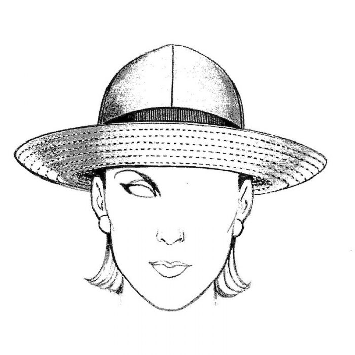 Rain Hat pattern. Wear this top-stitched brim several ways. Fabric suggestion is nylon supplex.