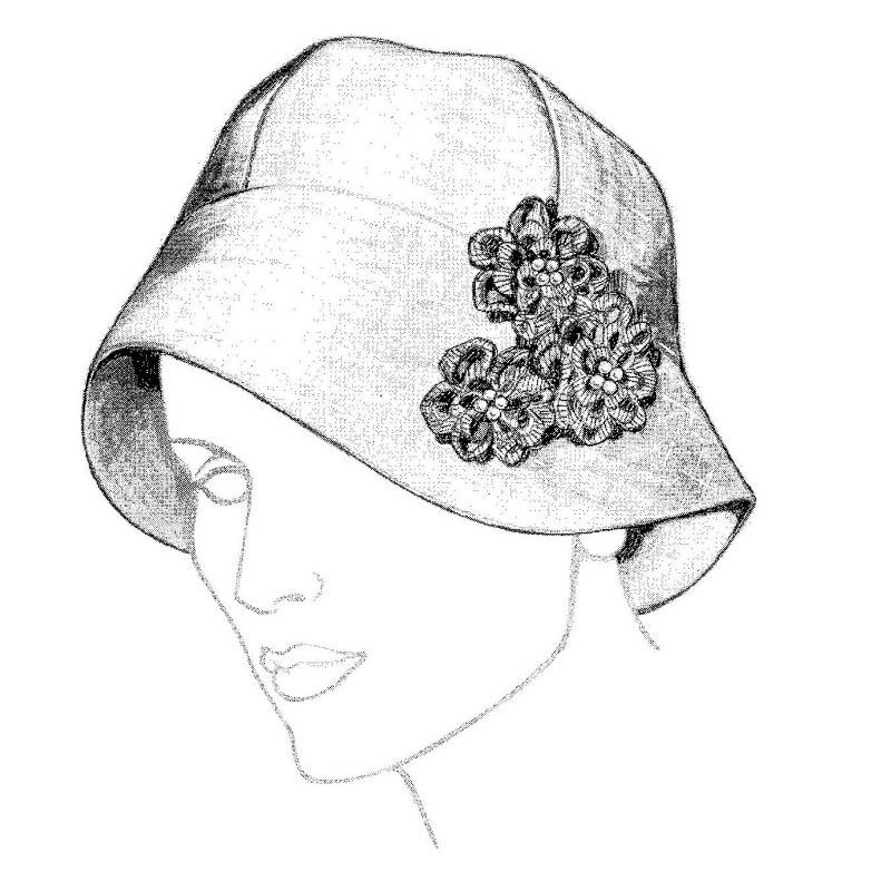 Head hugging profile hat pattern.