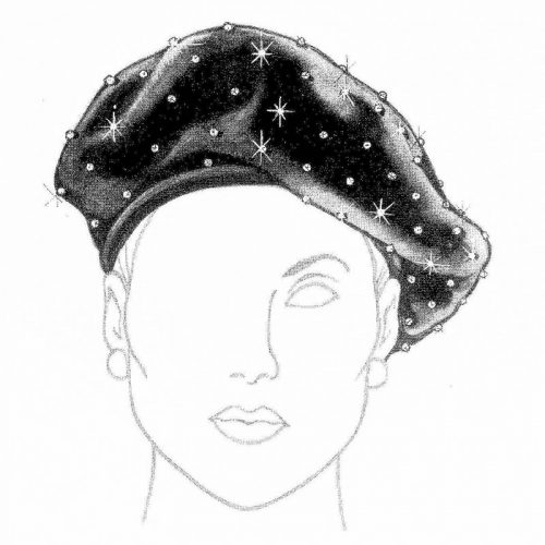 Lined beret with off-center head opening enhances the wearer's face.