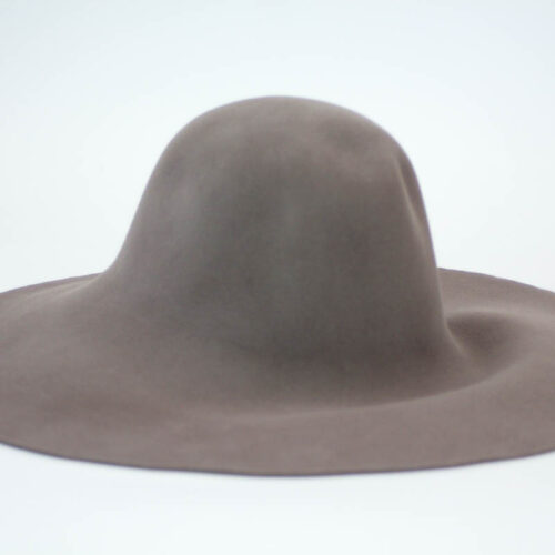 Mushroom or Mink brown capeline with suede finish.