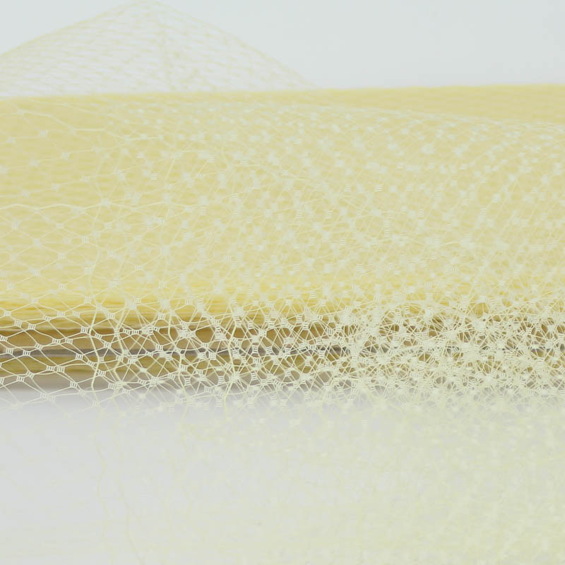 Butter Yellow Standard diamond pattern with 1/4 inch opening, 8-9 inch width, 100% nylon.