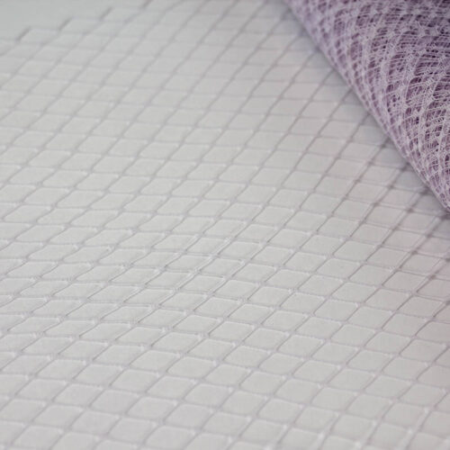 Faded Lilac Standard diamond pattern with 1/4 inch opening, 8-9 inch width and 1/4 inch chenille dots, 100% nylon.