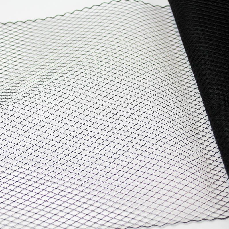 Black This fine 100% nylon veiling has a vintage feel,