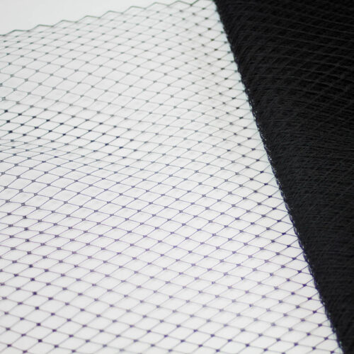 Black Standard diamond pattern 1/4 inch, 18 inch width, 100% nylon.  Also called Russian veiling.  Made in Taiwan.