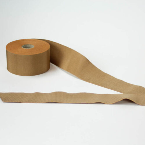 Camel Tan. Made in France. Blend of 44% rayon/ 56% cotton grosgrain belting with a saw-tooth edge.