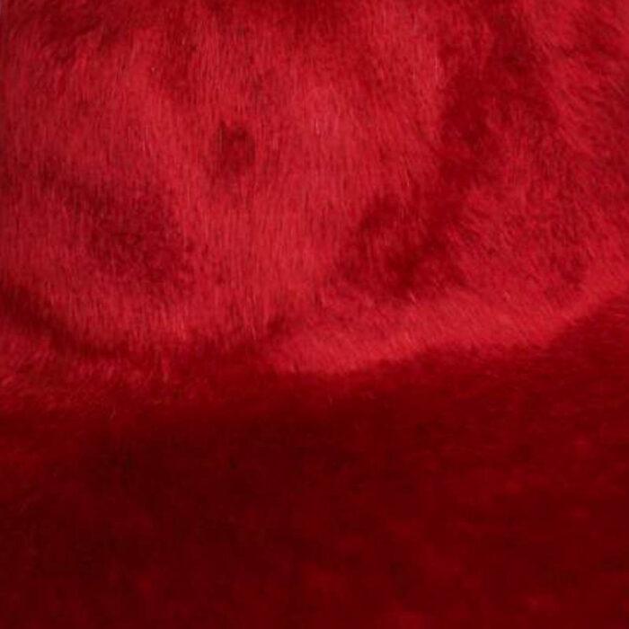 A deep crimson red. Brims are size 16/17 inch brim width (113 grams).