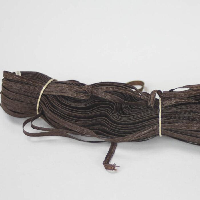 A viscose blend Swiss braid in chocolate brown, 4mm width