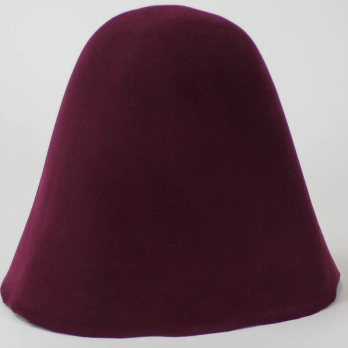 Deep purple wine 100% wool felt hood, 3 1/2 ounce weight (100 grams), made in China.