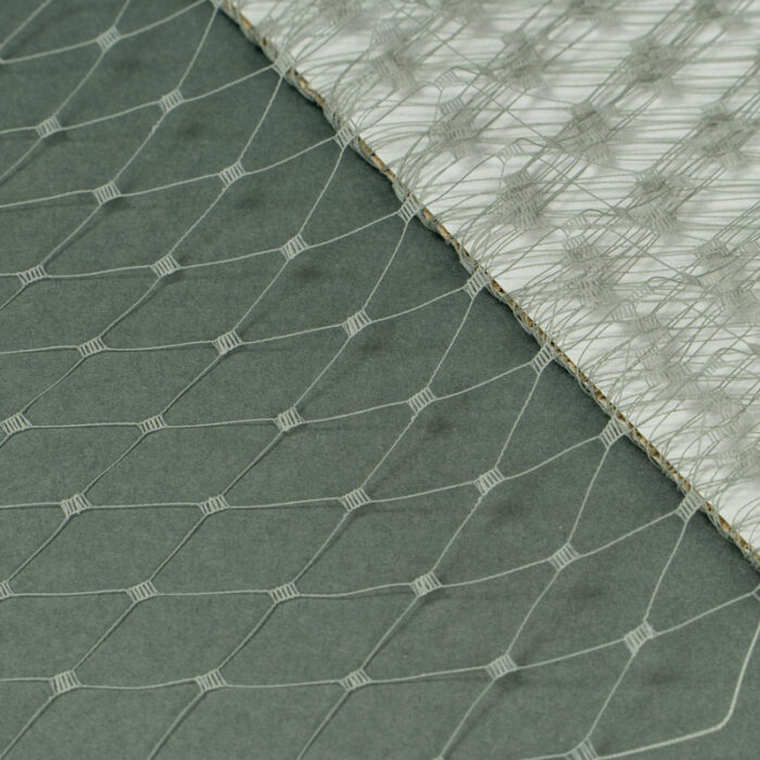 """Grey This 12"""" Hat Veiling, one-inch open diamond pattern. The large open pattern gives it a vintage look. 100% Nylon."""