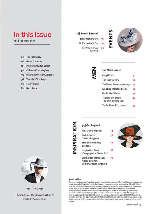 The Hat Magazine Aug 2018 Issue 76 index