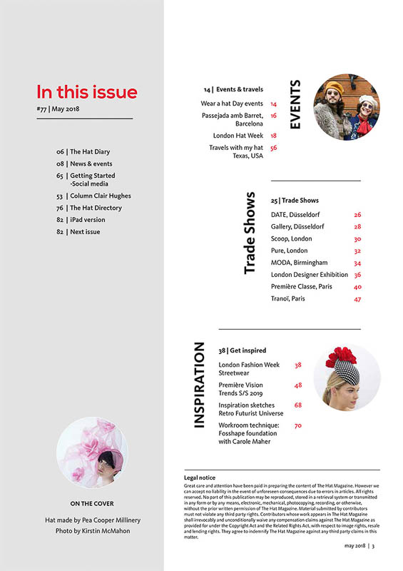 The Hat Magazine May 2018 Issue 77 index