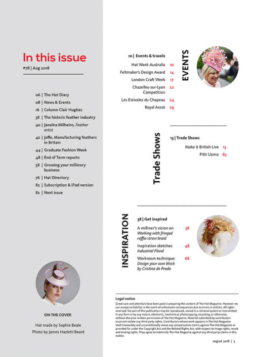 The Hat Magazine Aug 2018 Issue 78 index