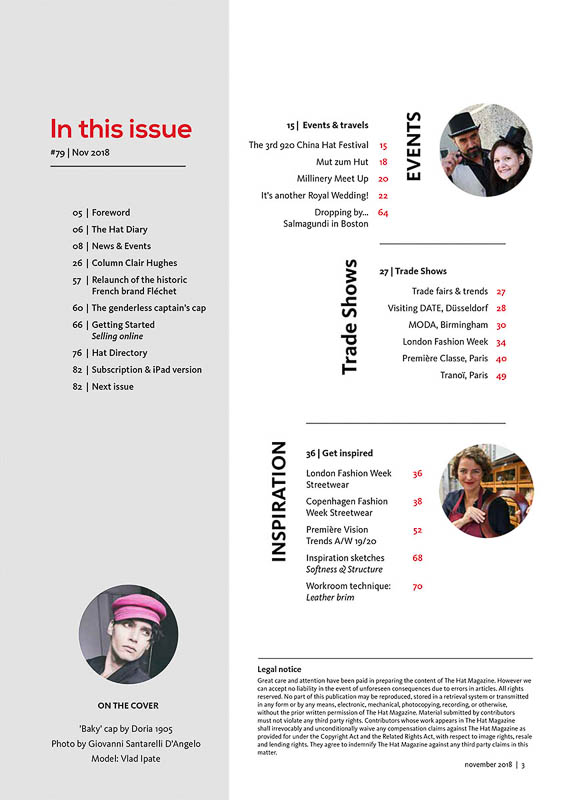 The Hat Magazine Nov 2018 Issue 79 index