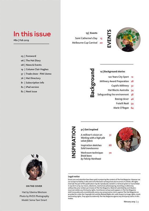 The Hat Magazine Feb 2019 Issue 80 index