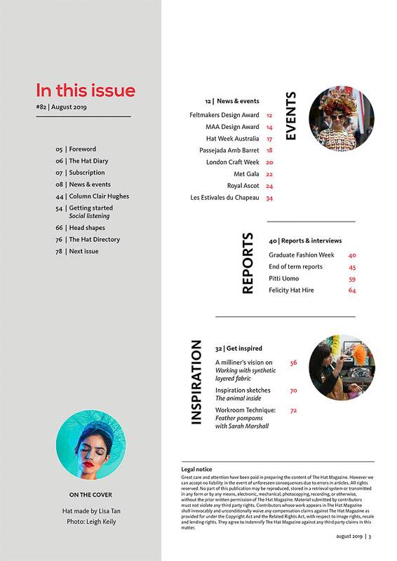 The Hat Magazine August 2019 Issue 82 index