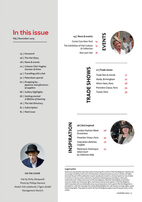 The Hat Magazine Nov 2019 Issue 83 index