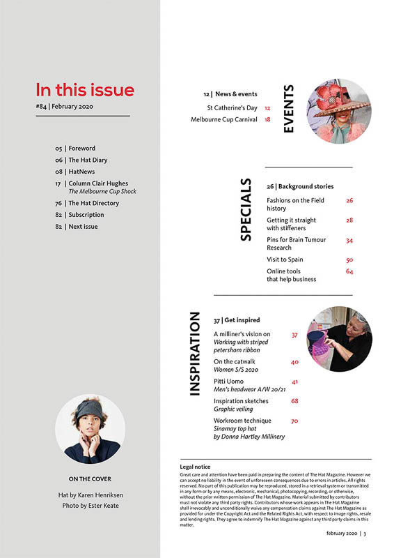 The Hat Magazine Feb 2020 Issue 84 index