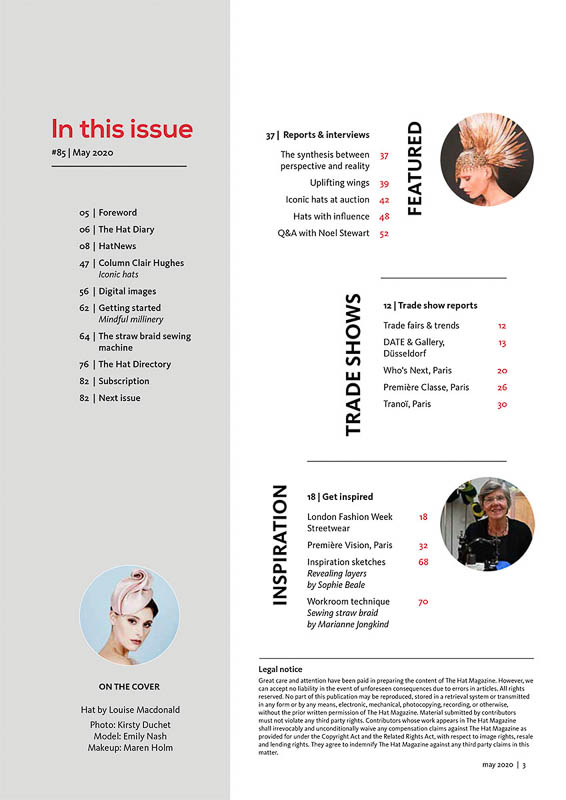The Hat Magazine May 2020 Issue 85 index