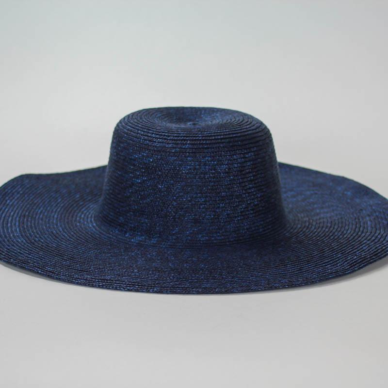 Navy sewn Straw Capeline of dyed, (Milan) strip straw. 18 inch diameter x 4.5 inch crown in 4/5mm braid. 23-inch average headsize.