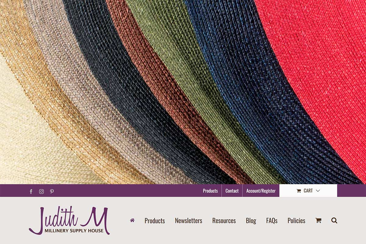 Judith M Millinery Supply House website preview